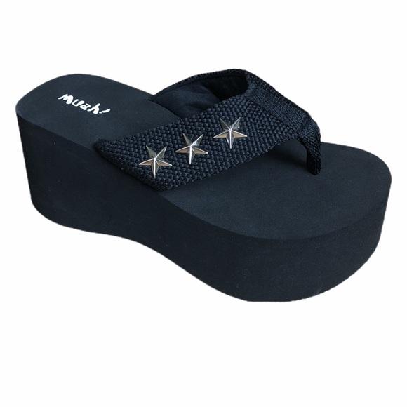 Muah Black Platform Flip Flop Sandal